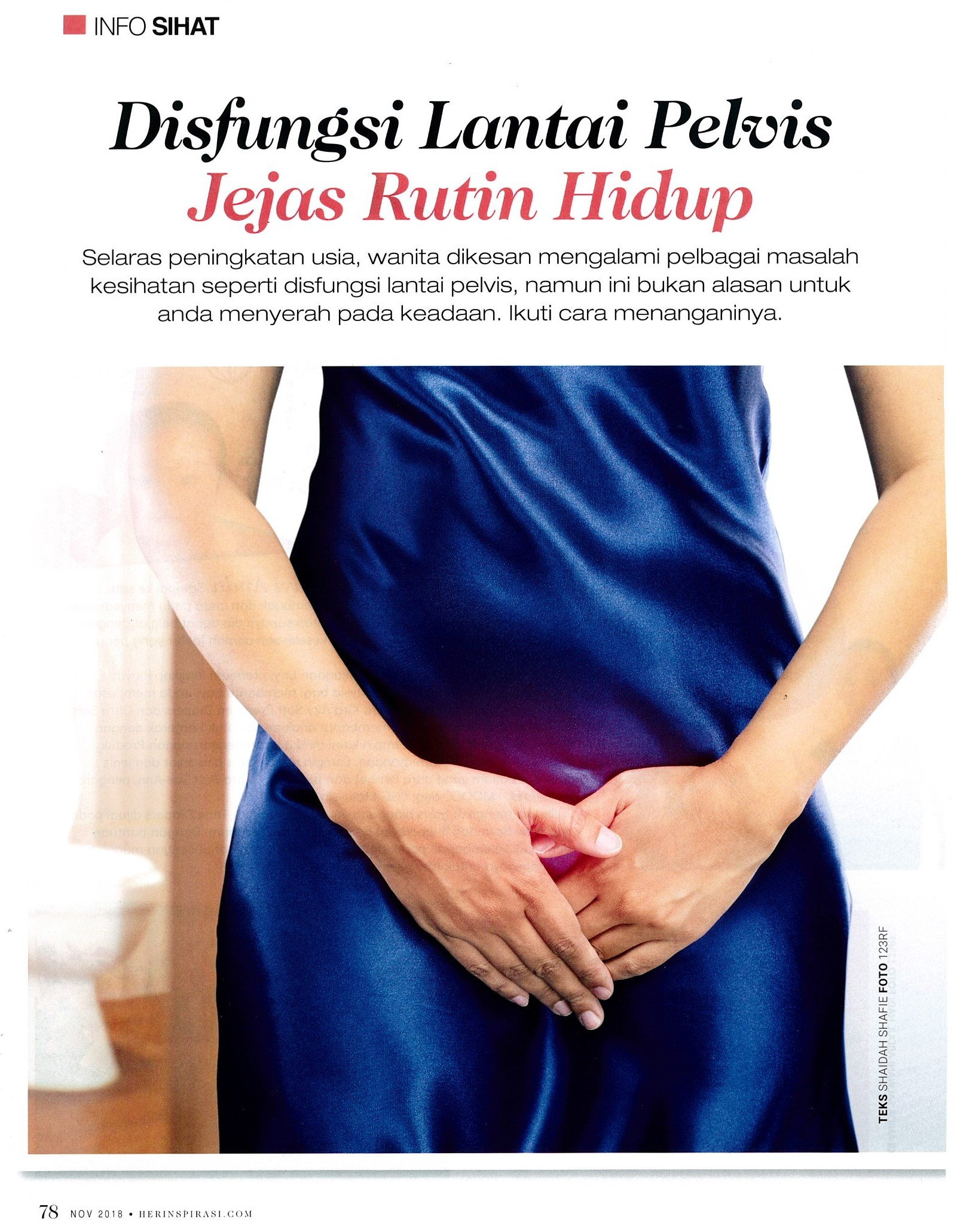Disfungsi Lantai Pelvis Jejas Rutin Hidup<br/><span class='subtitle' style='font-style:italic; color: #636363; text-weight:300; font-size:11px; line-height: 10px;'>By Jelita Magazine (November 2018 edition)</span>