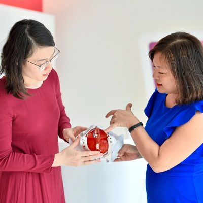 Teoh (L) and Dr Hoo showing where a woman's pelvic floor muscles are located. - RAJA FAISAL HISHAN/The Star